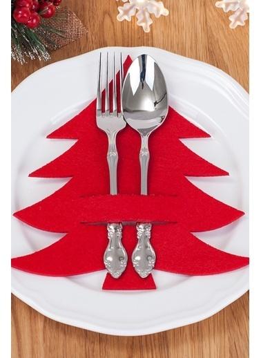 Arma House 6 Adet Çam Ağacı Kaşıklık & Peçetelik Servis Sunum Kırmızı